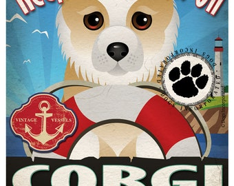 Corgi Sailing Company Original Art Print - 11x14 - Customize with Your Dog's Name