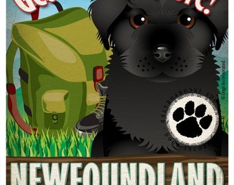 Newfoundland Wilderness Dogs Original Art Print - Personalized Dog Breed Art -11x14- Customize with Your Dog's Name - Dogs Incorporated