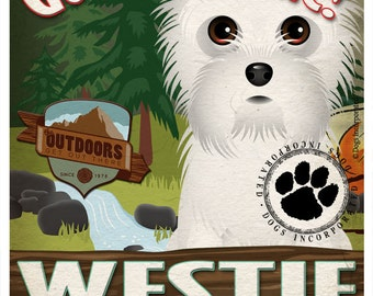 Westie Wilderness Dogs Original Art Print - Personalized Dog Breed Art -11x14- Customize with Your Dog's Name - Dogs Incorporated