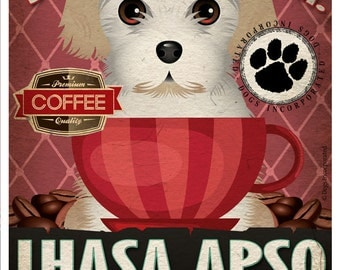 Lhasa Apso Coffee Bean Company Original Art Print - Custom Dog Breed Art - 11x14