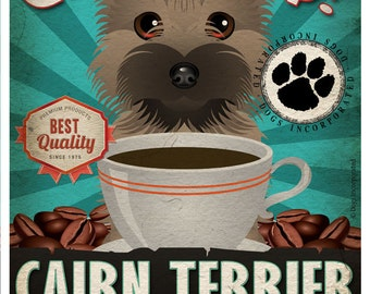 Cairn Terrier Coffee Bean Company Original Art Print - Custom Dog Breed Art - 11x14