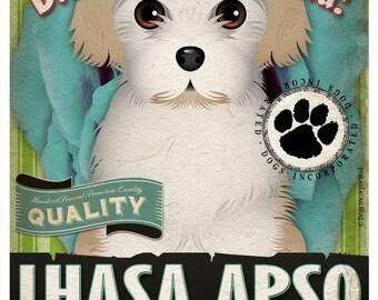 Dogs and Flowers Art Print - Lhasa Apso Art Print 11 x 14