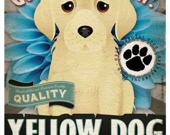 Dogs and Flowers Art Print - Yellow Dog Art Poster 11 x 14