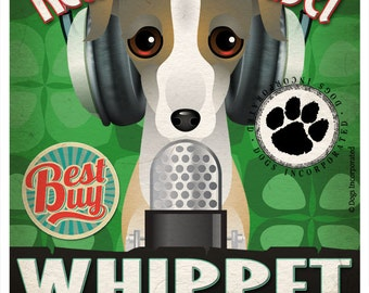 Whippet Recording Studio Original Art Print - Custom Dog Breed Print - 11x14 - Personalize With Your Dog's Name