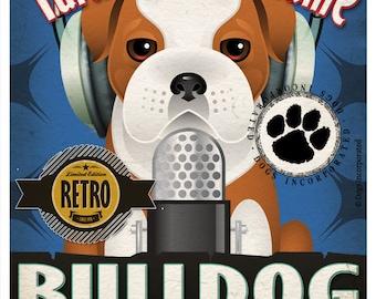 Bulldog Recording Studio Original Art Print - Custom Dog Breed Print - 11x14