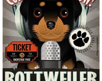Rottweiler Recording Studio Original Art Print - Custom Dog Breed Print 11x14