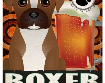 Boxer Drinking Dogs Original Art Poster Print - Personalized Dog Wall Art -11x14- Customize with Your Dog's Name - Dogs Incorporated