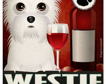 Westie Drinking Dogs Original Art Poster Print - Personalized Dog Wall Art -11x14- Customize with Your Dog's Name - Dogs Incorporated