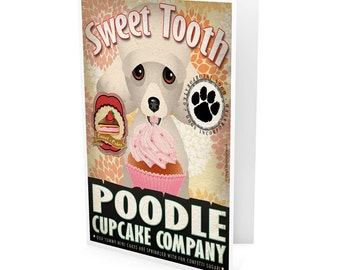 Poodle Cupcake Company Greeting Card - Dog Lover Note Cards (pack of 6) - includes  6 Color-Coordinated Envelopes