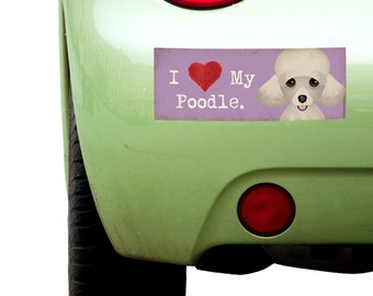 """Dogs Incorporated I Love My Poodle   - I Heart My Dog Bumper Sticker 3""""x 8"""" Coated Vinyl"""