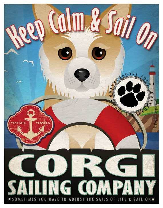 Corgi Sailing Company Original Art Print - 11x14 - Customize with Your Dog's Name