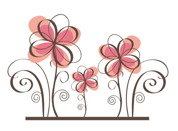 Flower wall decal pink calligraphy by walldecalsource