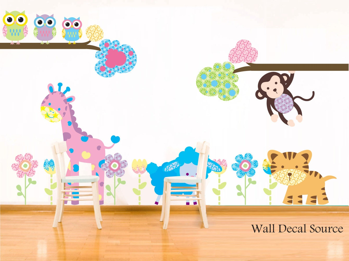 children s animals wall decal colorful animals nursery