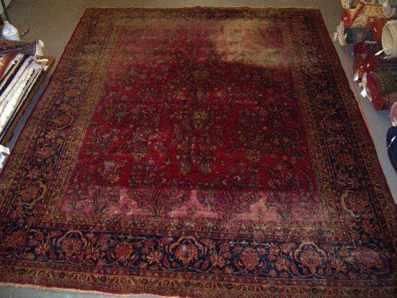 RESERVED for Max Noce - 1920s Sarouk Persian Rug for Design Projects