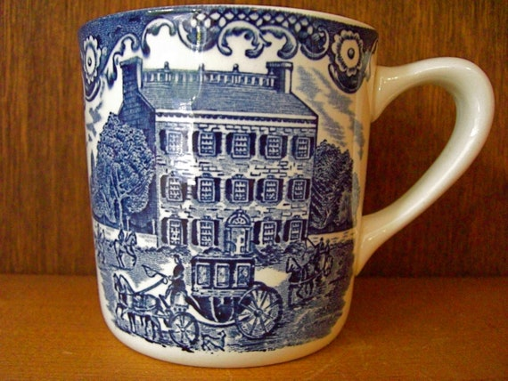 Vintage Blue and White Mug Cup Made in England