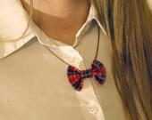 Tartan Bow Necklace