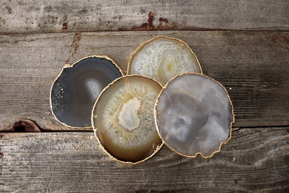 Gold Rimmed Natural Agate Coasters