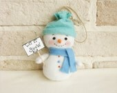 Happy Snowman Christmas Hanging Ornament Felt Soft Staffed Hand Made