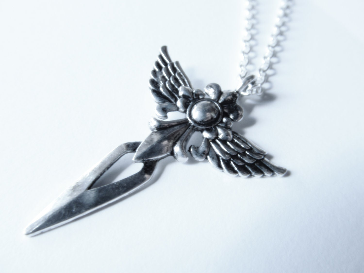 Gothic Winged Dagger Sword Cross Valkyrie Pendant On Chain