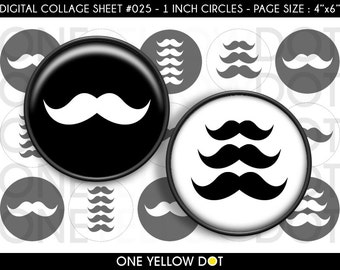 INSTANT DOWNLOAD - 1 Inch Circles Digital Collage Sheet - Mustache Black and White - Bottle Caps Scrapbooking Pendant Magnets Tags - 025