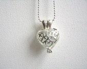 Filigree heart locket pendant with aqua beach glass and chain, jewellery fashion, gift under 20