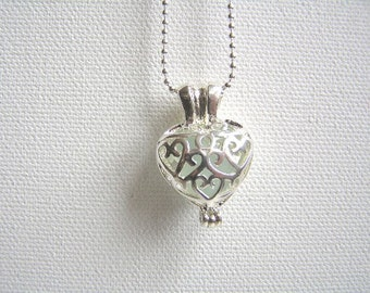 Filigree heart locket pendant with aqua beach glass and chain, jewellery fashion, gift under 20