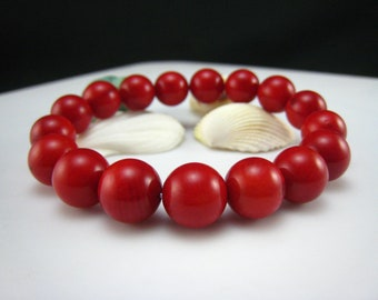 red coral round beads bracelet