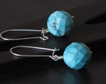 Magnesites turquoise dangle earrings