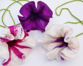 Felted Set of 3 felt flowers in purple and white lilac handmade felt set large window decoration hanging flowers okras blossoms