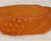 Vintage 1950s Rare Carved Berries and Leaves Apple Juice Celluloid Bangle Bracelet Made in France