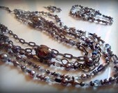 Multi strands Grey Antique Victorian style Jewelry set  FREE Shipping to USA