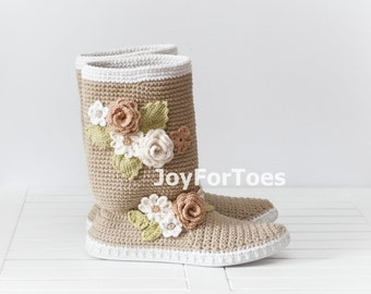 Boho Chic Shoes: Crochet Boots for the Street Handmade Shoes Folk Tribal Boots Made to Order Pastel Beige Flowers Nature color