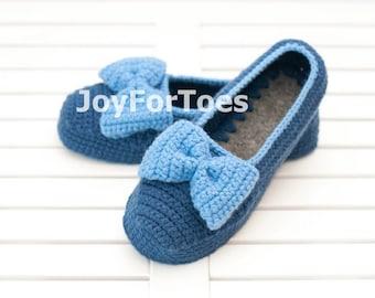 Crocheted house slippers Crochet Slippers Custom Order Blue Bow Slippers for the home Woman