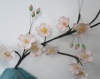 cherry blossoms cake topper sugar flowers wedding edible gumpaste pink keepsake spring