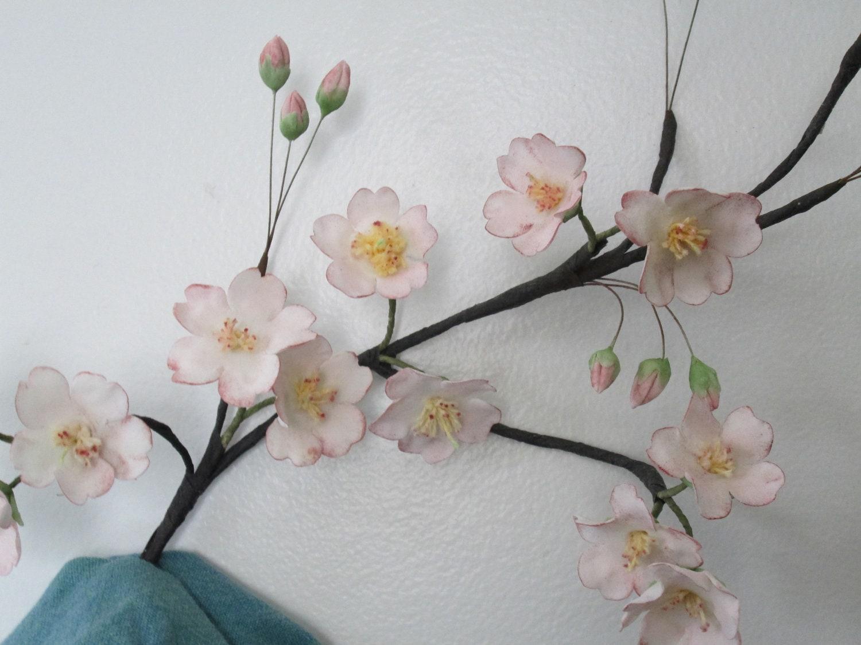 cherry blossoms cake topper sugar flowers wedding edible