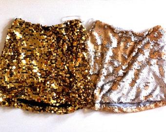 Tuck 2-tone Sequin Mini Skirt - Matte Silver/Matte Gold..sizes XS & M