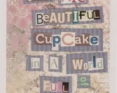 """PRINT- """"You ARE a Beautiful CupCake"""" 8x10inches - Sugar Art. Kitchen Decor. Pink, Tan, and Purple."""