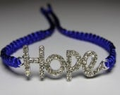 Hope bracelet with rhinestones cobalt blue macrame cord