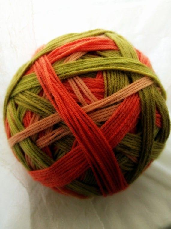 KOI POND - Self striping sock yarn, hand dyed, hand wound - muted green and orange, superwash wool
