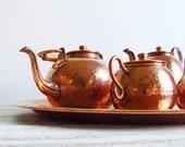 Vintage Handcrafted Hammered Copper Coffee / Tea Set - Recuerdo de Chile