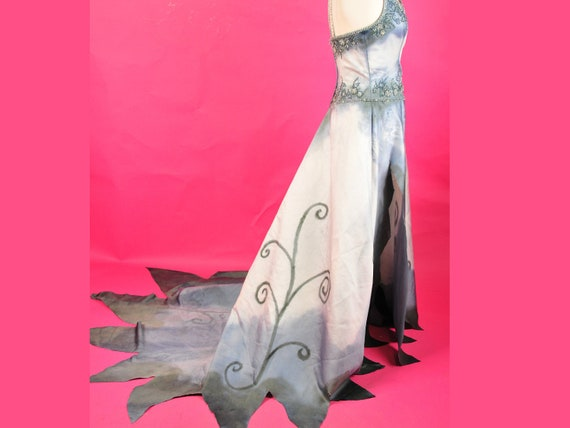 Corpse Bride Dress gown Halloween Wedding Zombie Goth Costume Hand Painted Dyed M L  Upcycled