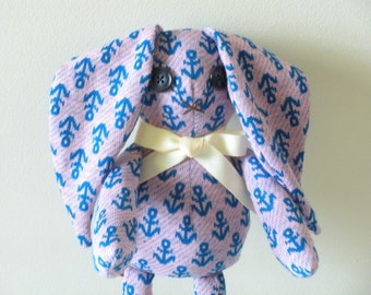 Sailor Bunny Doll, Vintage Doll, Pink and Blue Anchor Print