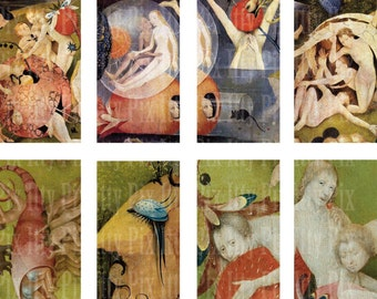 Hieronymus Bosch Digital Collage Sheet - .75 x 1.5 inch rectangle digital collage - bamboo tile collage sheet - Instant Download