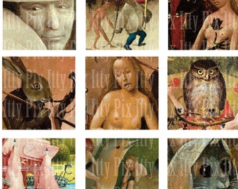 Hieronymus Bosch Digital Collage Sheet - Inchies - Garden of Earthly Delights - 1 inch square - Fine Art - Instant Download