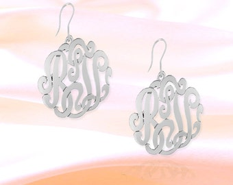 Monogram Earrings - .5 inch  Sterling Silver Handcrafted - Personalized Monogram Earrings - French Wire - Made in USA