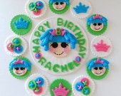 """Party Package - Fondant """"Lala"""" Inspired doll - custom cake topper and 12 edible cupcake toppers"""