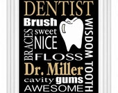 Dentist Gift Personalized Subway Sign Wall Art Custom Doctors Name