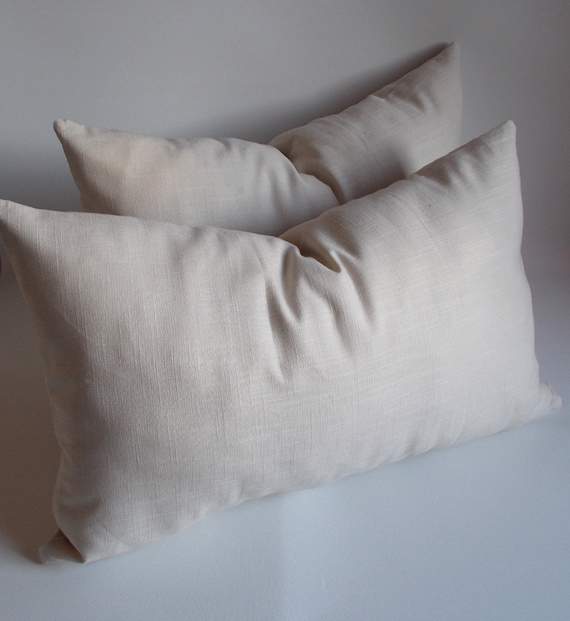 SET OF 2 / Linen Natural Lumbar pillow  Decorative pillow 14''x22'' inches Pillow cower