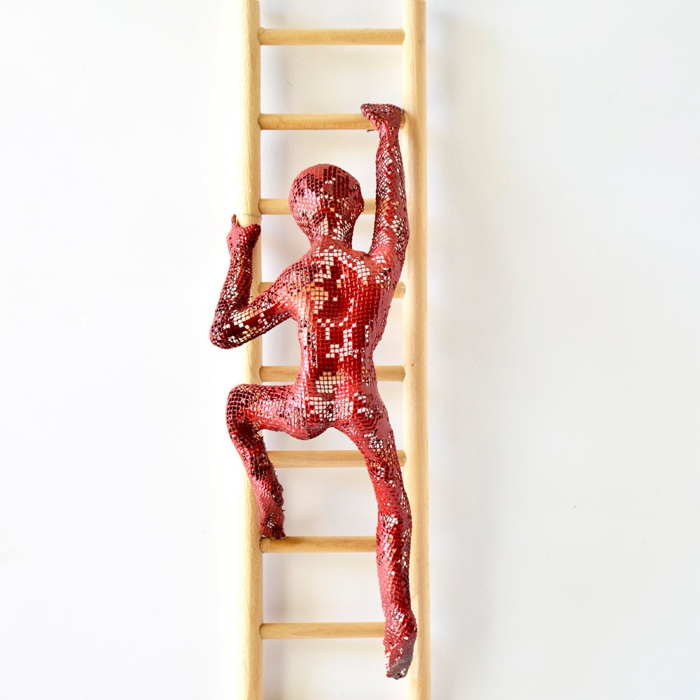 Metal wall art climbing man sculpture on wood ladder wire for Wire wall art