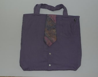 Boho Shoulder Bag. Back to School. Recycled man's shirt. Purple bag with a tie.